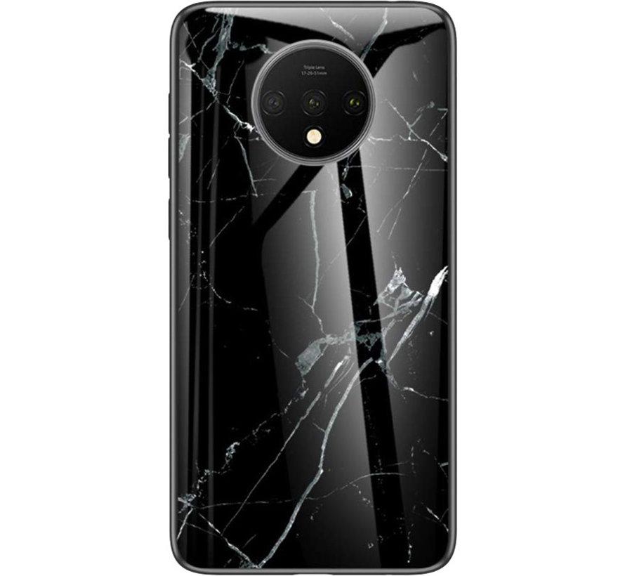OnePlus 7T Glass Design Handyhülle Marmor Schwarz