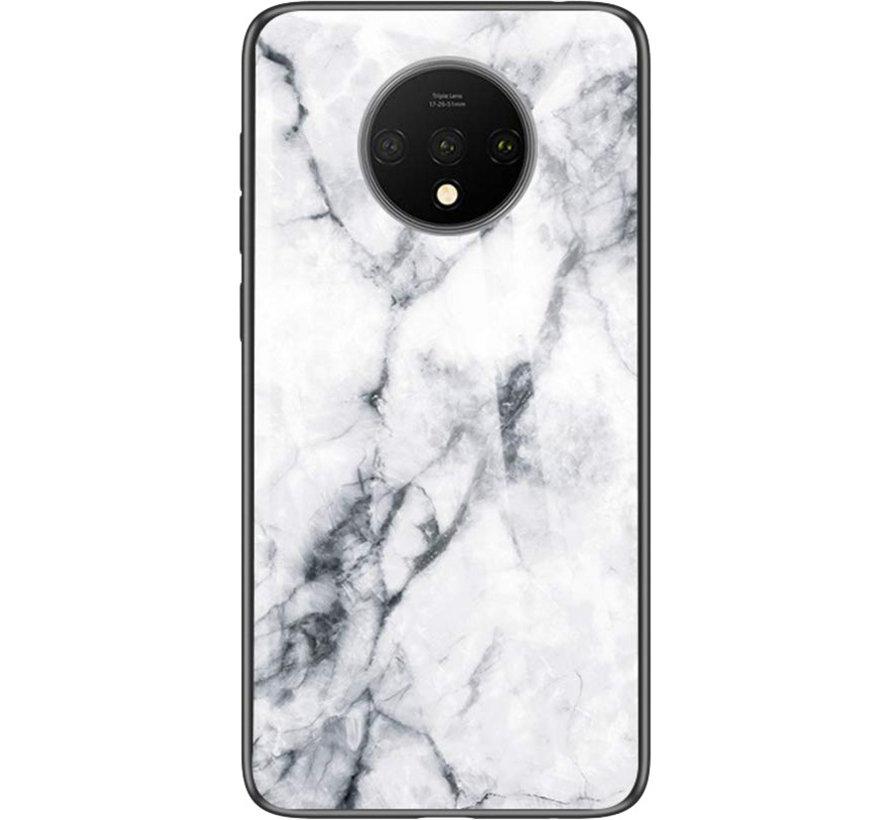 OnePlus 7T Glass Design Handyhülle Marmorweiß