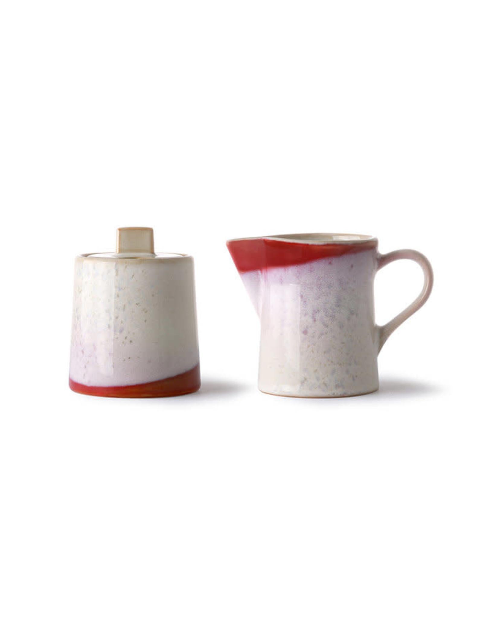HKliving Ceramic 70's Milk Jug And Sugar Pot