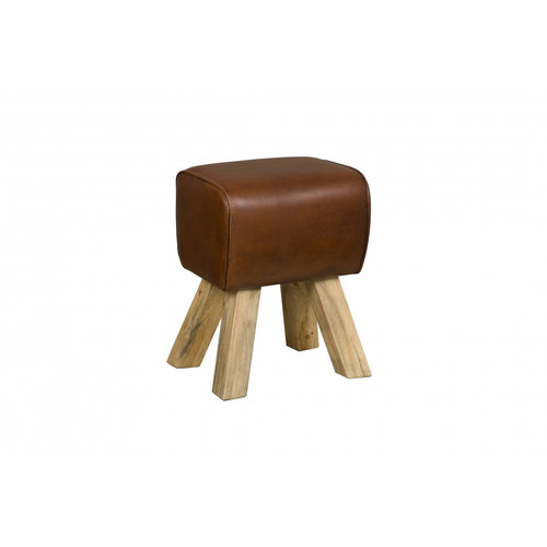 RENEW Stool leather brown - small