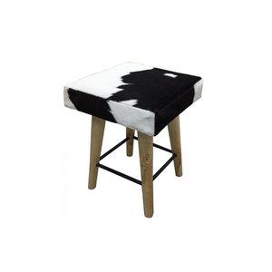 RENEW Stool - vierkant 35x35x45 - Zwart/wit