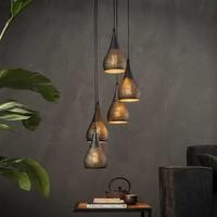 Hanglamp | Baltimore Getrapt | 5x Ø15cm