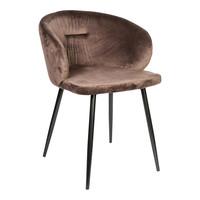 PTMD Move velvet stoel met armleuning bruin