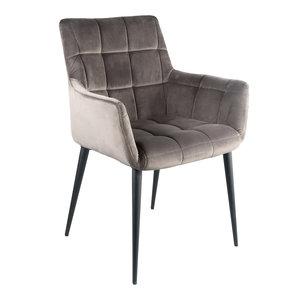 PTMD Flair velvet stoel met armleuning grijs