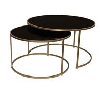 PTMD Miyo glazen salontafel zwart set van 2