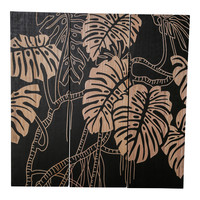 PTMD Neron Black wandpaneel bladeren set van 3