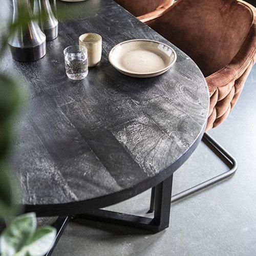 Eleonora Ovale eettafel Denzel | Mangohout & staal | 240-300 cm