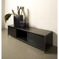 Tv meubel Paterno 145 cm   Zwart mangohout & metaal