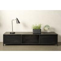 Tv meubel Paterno 180 cm   Zwart mangohout & metaal