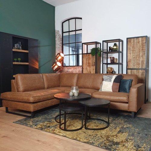 Black Friday deal | Hoekbank Tijn links cognac + gratis salontafel set