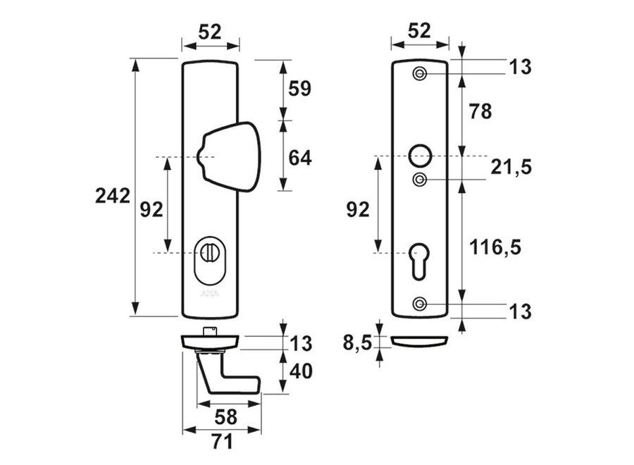 AXA Curve Veiligheidslangschild Kerntrek S-knop F1