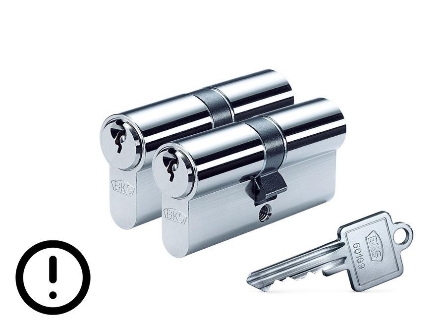 Cilinderset 30/30 gelijksluitend met gevarenfunctie