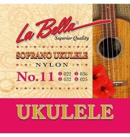 La Bella L-11 La Bella Acoustic Folk string set soprano ukulele, clear nylon, 022-032-036-025
