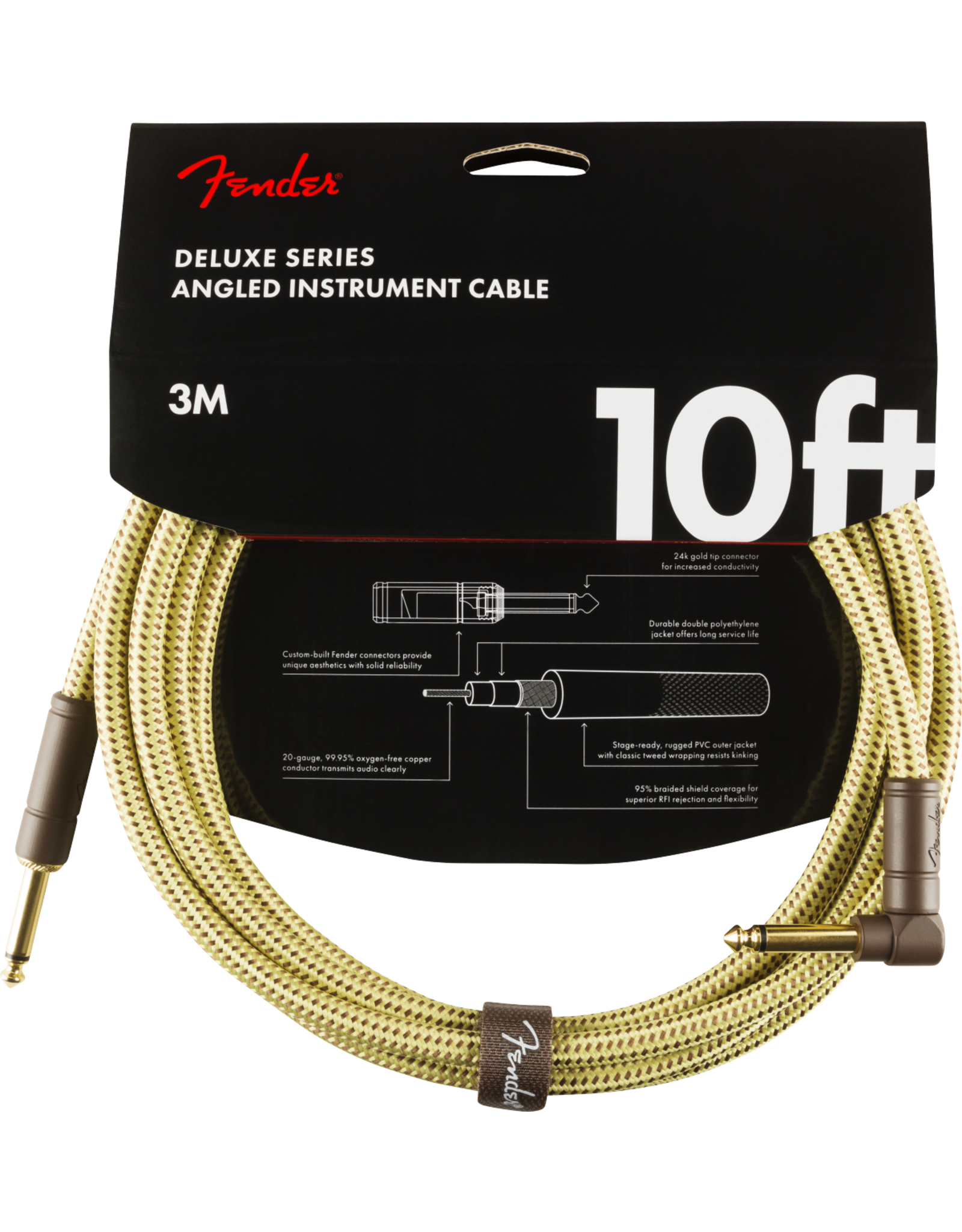 Fender Fender Deluxe 10' inst cable tweed angled