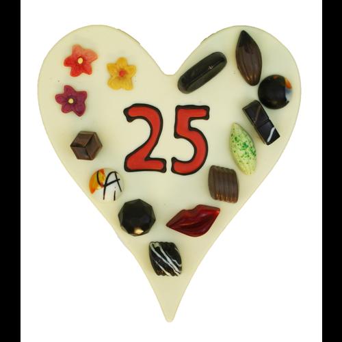 Bonvanie chocolade Hart met getal naar keuze - Chocoladehart