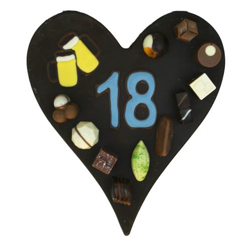 Bonvanie chocolade Hart met getal naar keuze - Chocoladehart XL