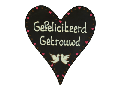 Bonvanie chocolade Gefeliciteerd, getrouwd! - Chocoladehart XL