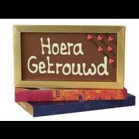 Hoera, getrouwd - Chocoladereep met tekst