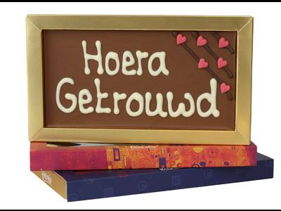 Bonvanie chocolade Hoera, getrouwd - Chocoladereep met tekst