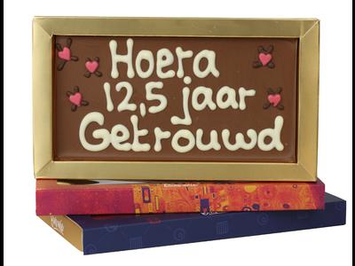 Bonvanie chocolade 12,5 jaar getrouwd - Chocoladereep met tekst