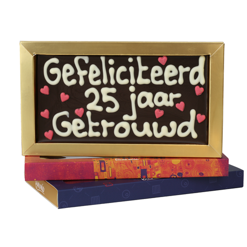 Bonvanie chocolade 25 jaar getrouwd - Chocoladereep met tekst