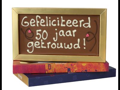 Bonvanie chocolade 50 jaar getrouwd  - Chocoladereep met tekst