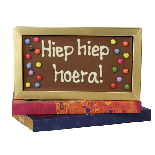 Bonvanie chocolade Hiep hiep hoera - Chocoladereep met tekst