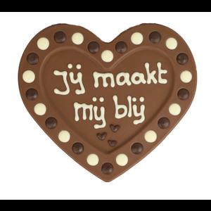Bonvanie chocolade Jij maakt me blij - Chocoladehart met stippen
