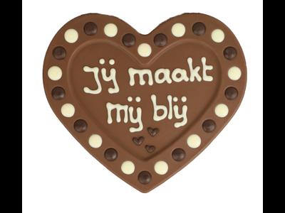 Bonvanie chocolade Jij maakt me blij - Chocoladehart XL met stippen