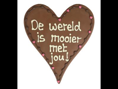 Bonvanie chocolade De wereld is mooier met jou - Chocoladehart XL