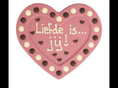 Bonvanie chocolade Liefde is jij - Chocoladehart XL met stippen
