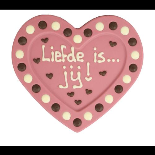 Bonvanie chocolade Liefde is jij - Chocoladehart met stippen