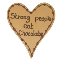Strong people eat chocolate- Chocoladehart met stippen