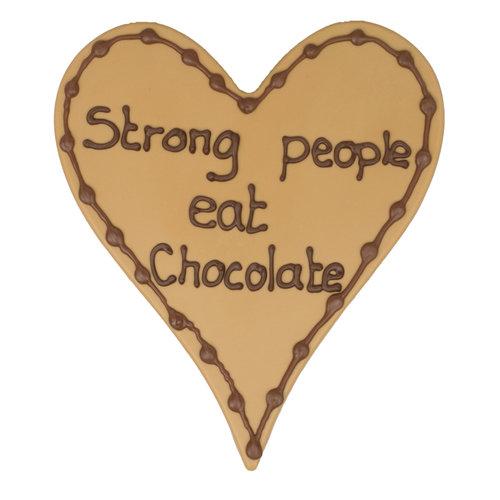 Bonvanie chocolade Strong people eat chocolate - Chocoladehart met stippen