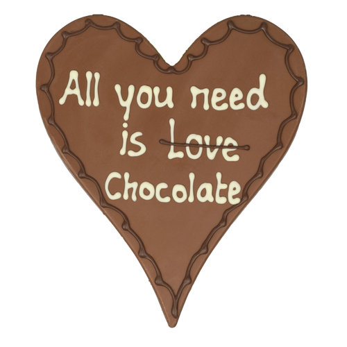Bonvanie chocolade All you need is love/chocolate - Chocoladehart XL