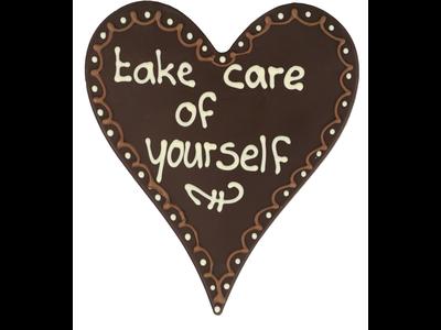 Bonvanie chocolade Take care of yourself - Chocoladehart XL met stippen