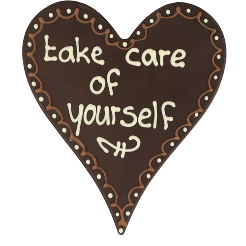 Bonvanie chocolade Take care of yourself - Chocolade hart met stippen