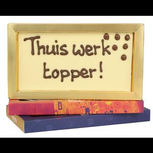 Bonvanie chocolade Thuis werk topper! - Chocoladereep met tekst