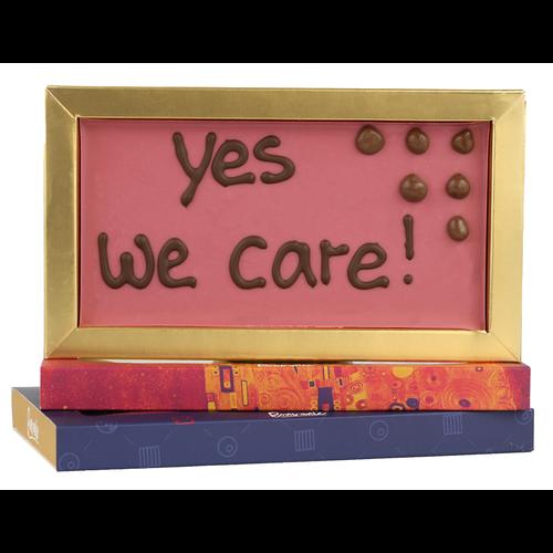 Bonvanie chocolade Yes we care! - Chocoladereep met tekst