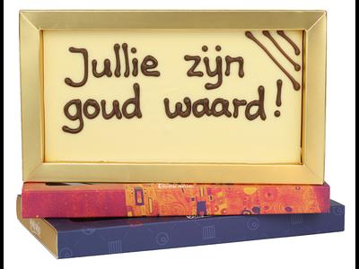 Bonvanie chocolade Jullie zijn goud waard! - Chocoladereep met tekst