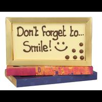 Don't forget to smile! - Chocoladereep met tekst