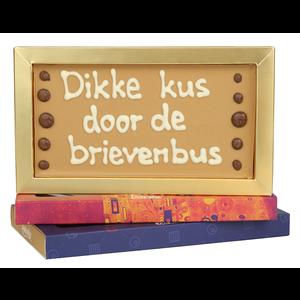 Afhalen bij Bonvanie of laten versturen via PostNL Dikke kus door de brievenbus - Chocoladereep met tekst