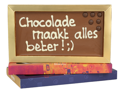 Bonvanie chocolade Chocolade maakt alles beter! - Chocoladereep met tekst