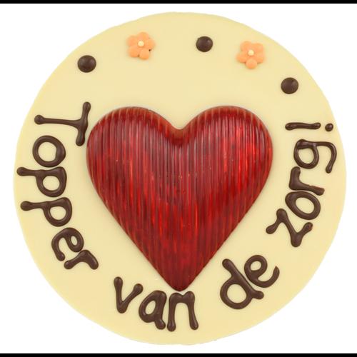Bonvanie chocolade Topper van de zorg - Rond chocoladeplakkaat met hart