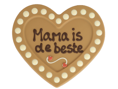Bonvanie chocolade Mama is de beste - Chocoladehart XL met stippen