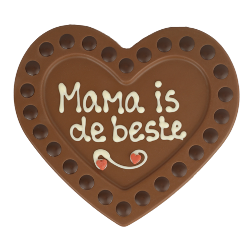 Bonvanie chocolade Mama is de beste - Chocoladehart met stippen