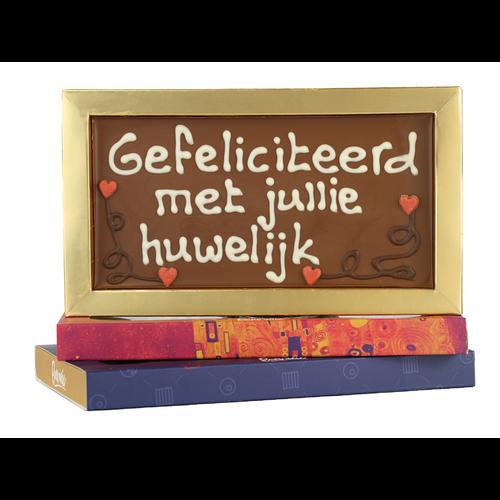 Bonvanie chocolade Gefeliciteerd met jullie huwelijk - Chocoladereep met tekst