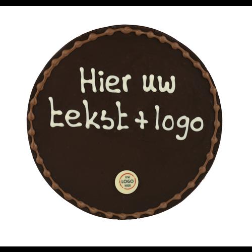 Bonvanie chocolade  Rond chocoladeplakkaat - Eigen opschrift met logo