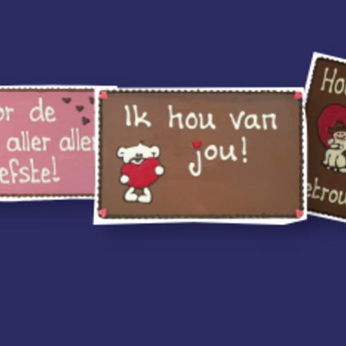 Chocoladeplakkaten met tekst