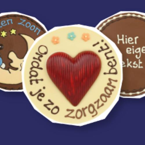 Ronde chocoladeplakkaten met tekst